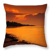 Epic Sunset In The Tropical Maldivian Island Throw Pillow
