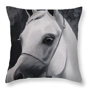 Equestrian Silver Throw Pillow