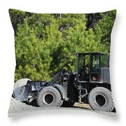 Equipment Operator Gathers A Load Throw Pillow