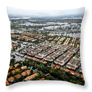 Erial View Of Flood Waters Affecting An Throw Pillow