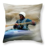 Eric Brown Paddling The Whitewater Throw Pillow