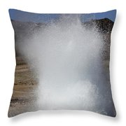 Eruption Of Strokkur Geysir, Iceland Throw Pillow