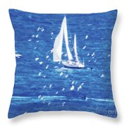 Escorted By Seagulls Throw Pillow