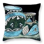 Etched Pottery Throw Pillow