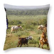 Ethiopia-south Tribal Goat Herder Throw Pillow