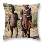 Ethiopia-south Tribesman Boy And Sister No.1 Throw Pillow