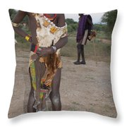 Ethiopia-south Tribesman Boy No.3 Throw Pillow