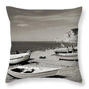 Etretat Beach Throw Pillow