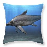 Eurhinosaurus Longirostris Swimming Throw Pillow