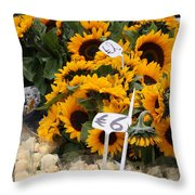 European Markets - Sunflowers And Roses Throw Pillow