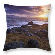 Evening At Breasty Bay Near Malin Head Throw Pillow