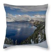 Evening At Crater Lake Panorama Throw Pillow