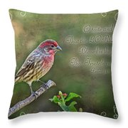 Evening Finch Greeting Card With Verse Throw Pillow