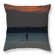 Evening Paddleboarder Throw Pillow