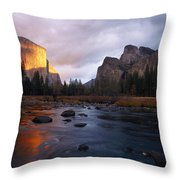 Evening Sun Lights Up El Capitan Throw Pillow