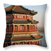 Evening Temple Of The Fragrant Buddha Throw Pillow by Mike Reid