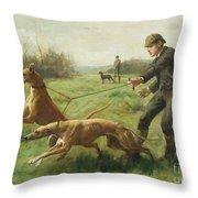 Exercising Greyhounds Throw Pillow