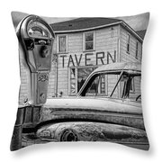 Expired A Black And White Photograph Of A Tavern Parking Meters And Vintage Junk Auto Throw Pillow