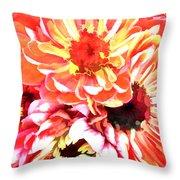 Explosion Of Bright Zinnias Throw Pillow
