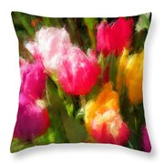 Expressionistic Spring Tulip Explosion Throw Pillow