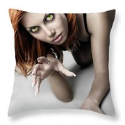 Expressive Sexy Cat Woman Throw Pillow