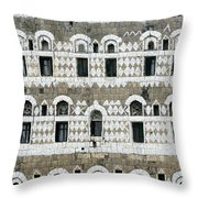 Exterior Of Ornate Mud House, Close Up Throw Pillow