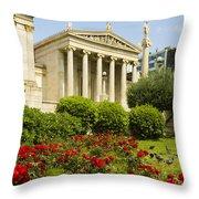 Exterior Of The Athens Academy, Greece Throw Pillow