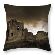 Exterior Of The Ruins Of Denhigh Castle Throw Pillow