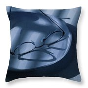 Eye Glasses On A Plate In Blue Throw Pillow