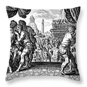 Eye Surgery, Historical Engraving Throw Pillow