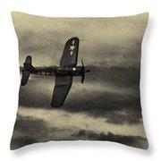 F4u Corsair In Sepia Throw Pillow