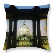 Facade Of A Government Building Lit Up Throw Pillow