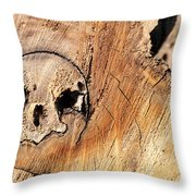 Face In The Wood Throw Pillow