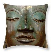 Face Of Bronze Buddha  Throw Pillow