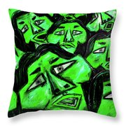 Faces - Green Throw Pillow