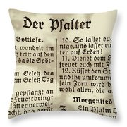 Faded Old German Bible Page Throw Pillow
