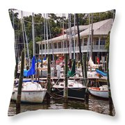 Fairhope Yacht Club Sailboat Masts Throw Pillow