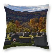 Fairview Cemetery In Autumn Throw Pillow
