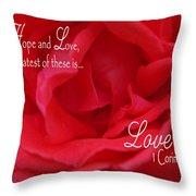 Faith Hope Love Rose Throw Pillow