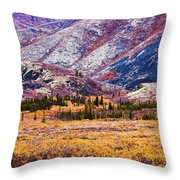 Fall Colours In Ogilvie Mountains Throw Pillow