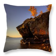 Fall Colours In The Squaw Bay Fallen Rock Throw Pillow