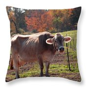 Fall Cow Throw Pillow