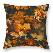 Fall Maple Leaves On Water Throw Pillow