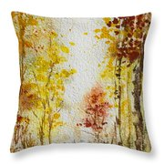 Fall Tree In Autumn Forest  Throw Pillow