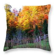 Fall Trees And Fence Throw Pillow