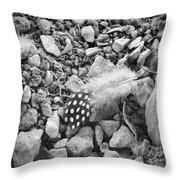 Fallen Feathers Black And White Throw Pillow