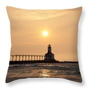 Falling On The Lighthouse Throw Pillow