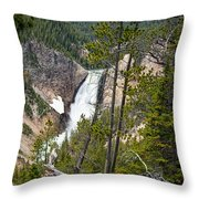Falls In The Grand Canyon Of Yellowstone Throw Pillow