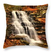 Falls In The Woods Throw Pillow