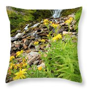 Falls To The Flowers Throw Pillow